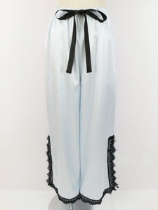 Satin lace wide pants (sax) - Poupee Boutique