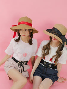 Ribbon straw HATS (red) - Poupee Boutique