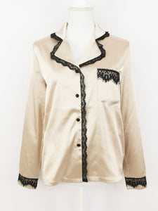 Satin lace shirt (pink gold black lace) - Poupee Boutique