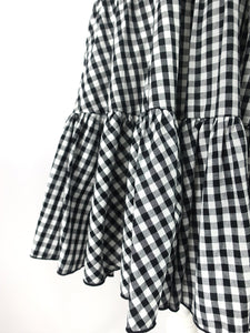 Gingham check skirt (black) - Poupee Boutique