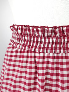 Gingham check skirt (red) - Poupee Boutique
