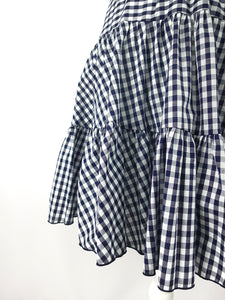 Gingham check skirt (navy) - Poupee Boutique