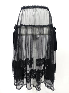 Classical tulle ribbon skirt (black) - Poupee Boutique
