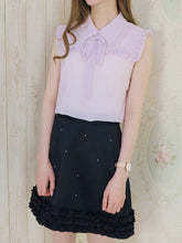 画像をギャラリービューアに読み込む, Ribbon tie frill blouse (lavender) - Poupee Boutique