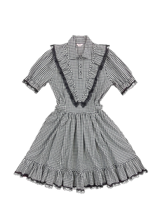 Gingham check frill lace one-piece (black) - Poupee Boutique