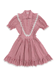 Gingham check frill lace one-piece (red) - Poupee Boutique