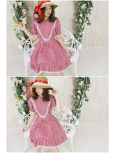 画像をギャラリービューアに読み込む, Gingham check frill lace one-piece (red) - Poupee Boutique