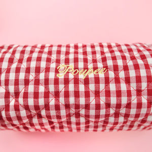 Gingham pen pouch (red) - Poupee Boutique