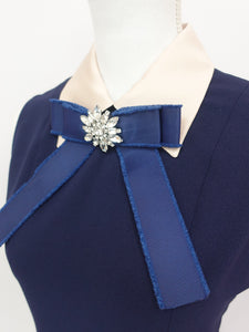 Broach one-piece (navy) - Poupee Boutique