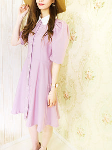 Pearl collar one-piece (pink) - Poupee Boutique