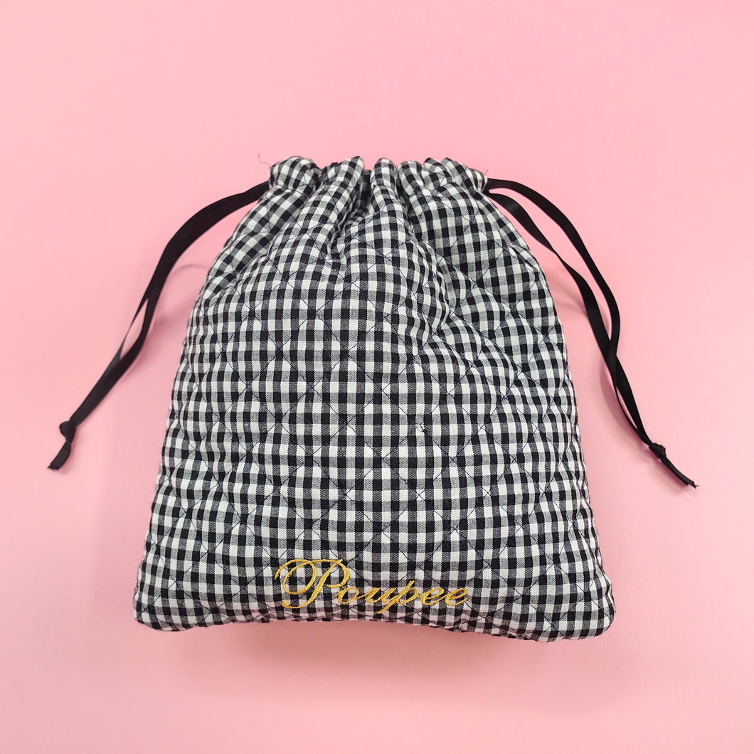 Drawstring pouch (black) - Poupee Boutique