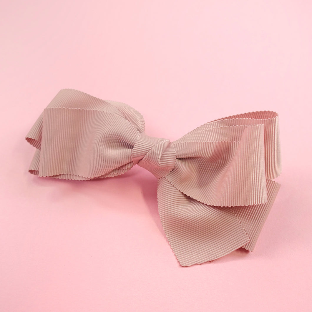 Grosgrain ribbon barrette (pink) - Poupee Boutique