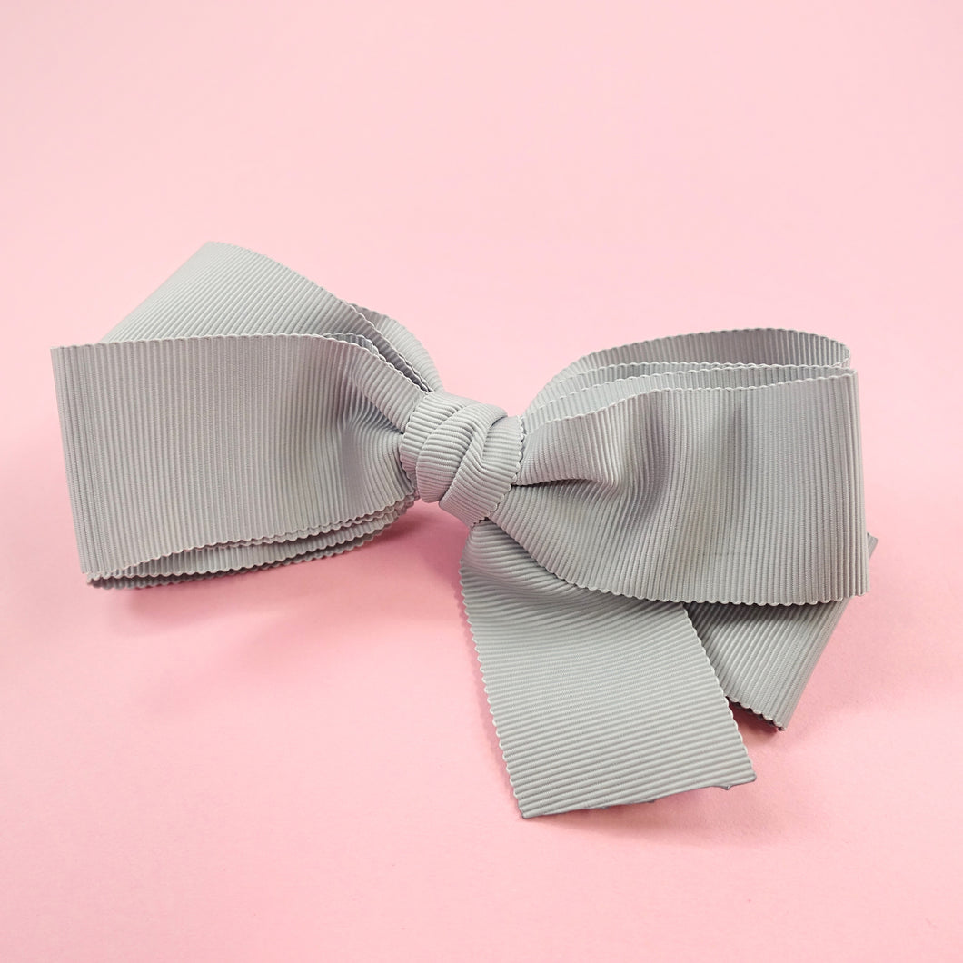 Grosgrain ribbon barrette  (blue grey) - Poupee Boutique