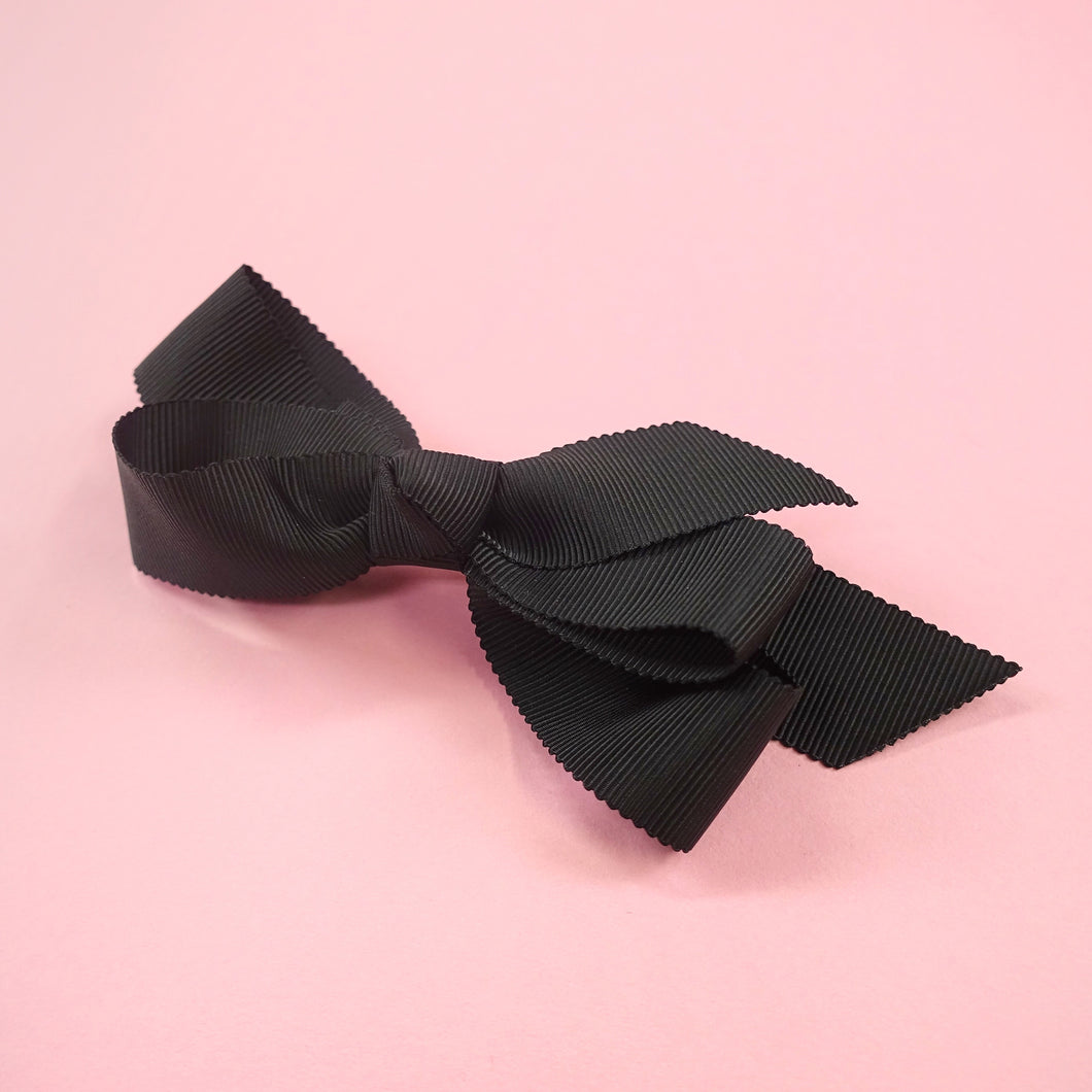 Petit grosgrain ribbon barrette (black) - Poupee Boutique