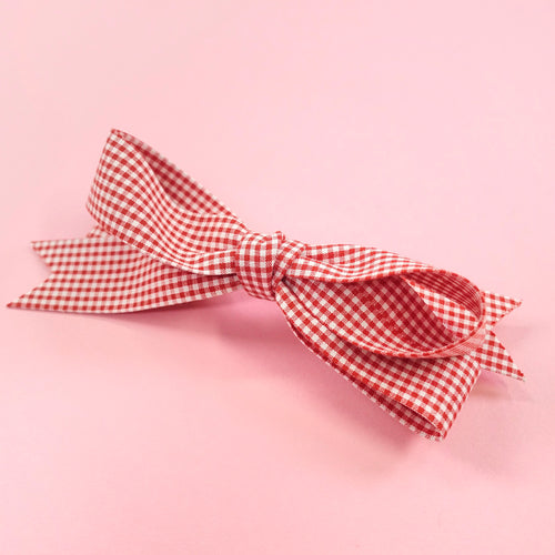 Gingham check barrette (red) - Poupee Boutique