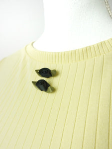 Black flower tops (yellow) - Poupee Boutique