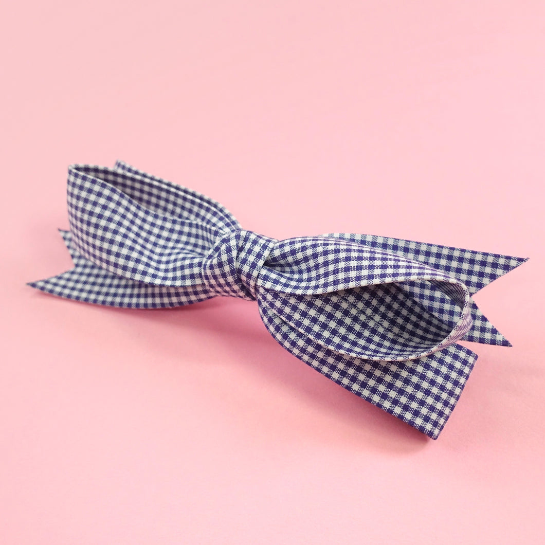 Gingham check barrette (navy) - Poupee Boutique