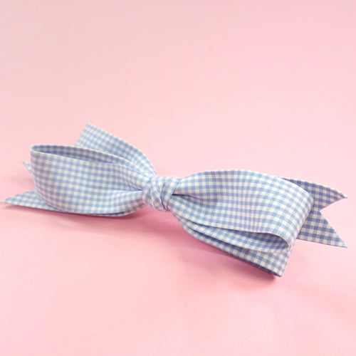 Gingham check barrette (sax) - Poupee Boutique