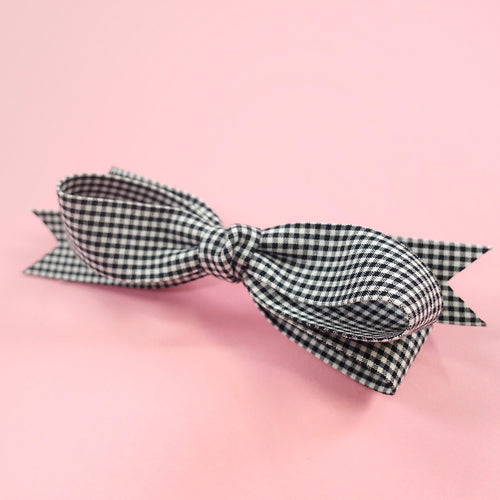 Gingham check barrette (black) - Poupee Boutique