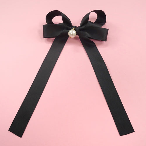 Pearl ribbon barrette (black) - Poupee Boutique