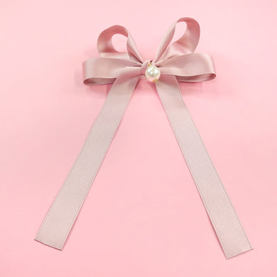 Pearl ribbon barrette (pink) - Poupee Boutique
