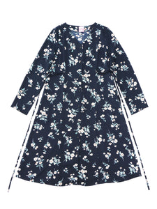 Flower gown one-piece (navy) - Poupee Boutique
