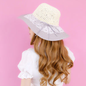 Pastel lace straw HATS - Poupee Boutique