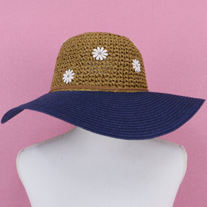 Flower motif straw HATS - Poupee Boutique