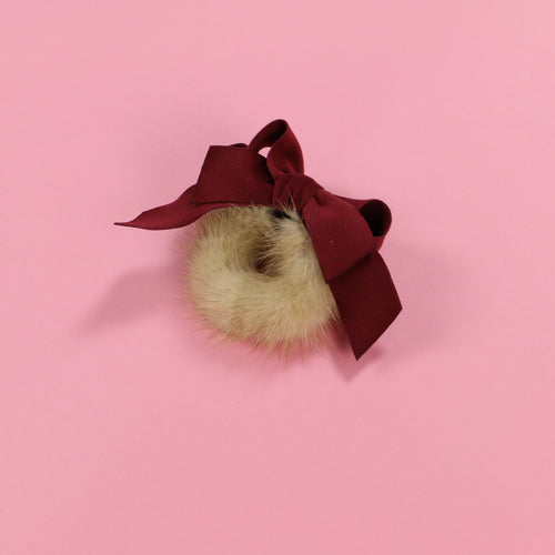 Fur ribbon (wine) - Poupee Boutique