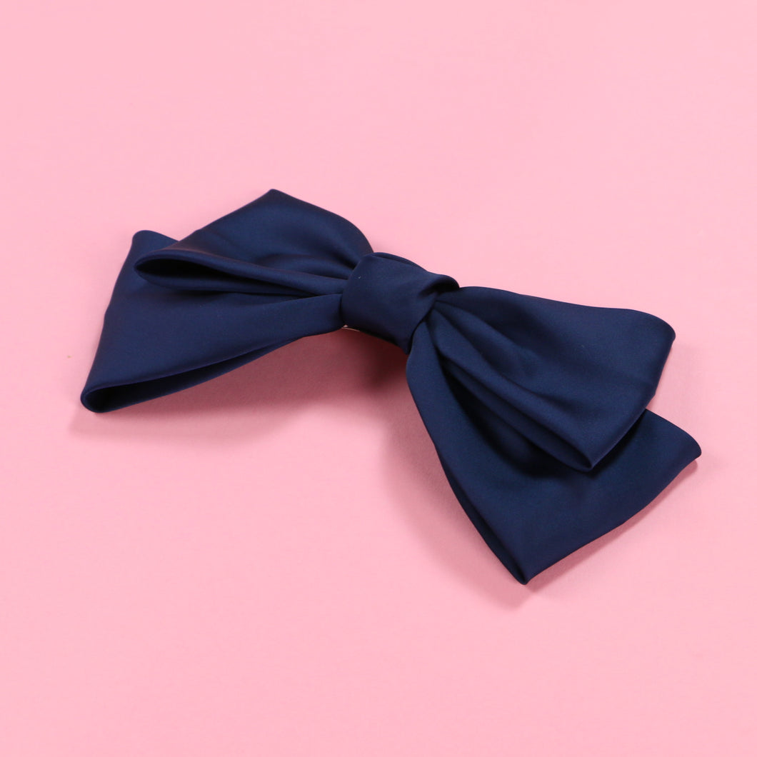 Ribbon barrette (navy) - Poupee Boutique