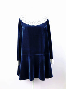 Lace collar velour one-piece (navy) - Poupee Boutique