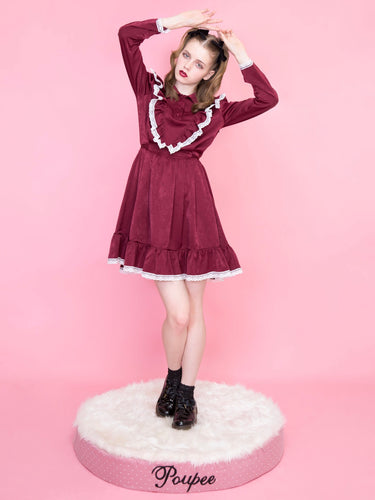 Classical frill one-piece (wine) - Poupee Boutique