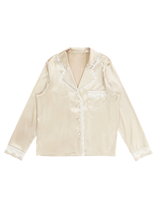 Satin lace shirt (pink gold white lace) - Poupee Boutique