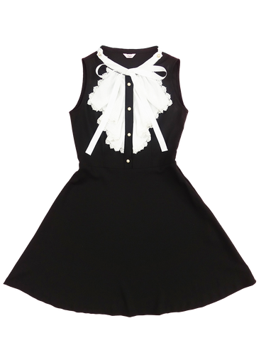 Ribbon tie one-piece (black) - Poupee Boutique