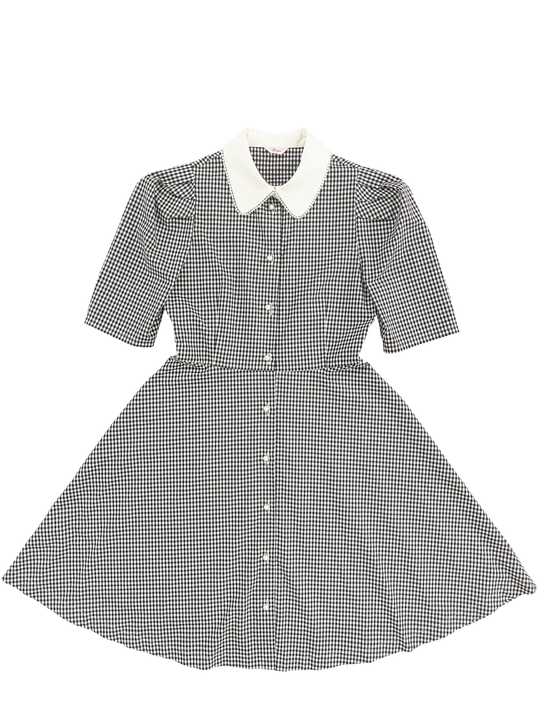 Pearl collar one-piece (gingham check) - Poupee Boutique
