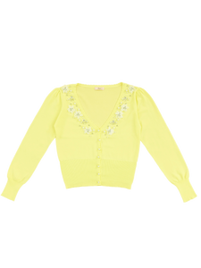 Flower motif cardigan (yellow) - Poupee Boutique