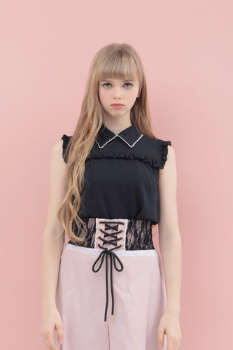 Ribbon tie frill blouse (black) - Poupee Boutique