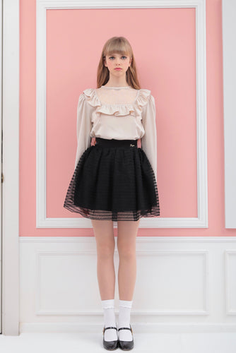 Frill mesh skirt (black) - Poupee Boutique