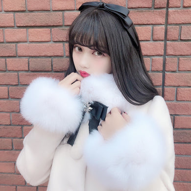 Snow drop coat (pink beige) - Poupee Boutique