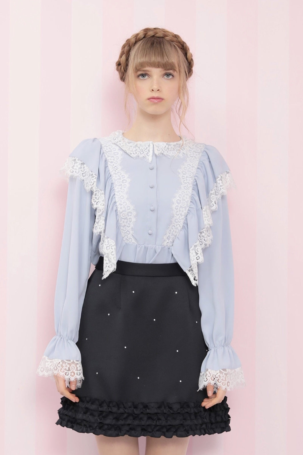 Heroine lace blouse (sax) - Poupee Boutique