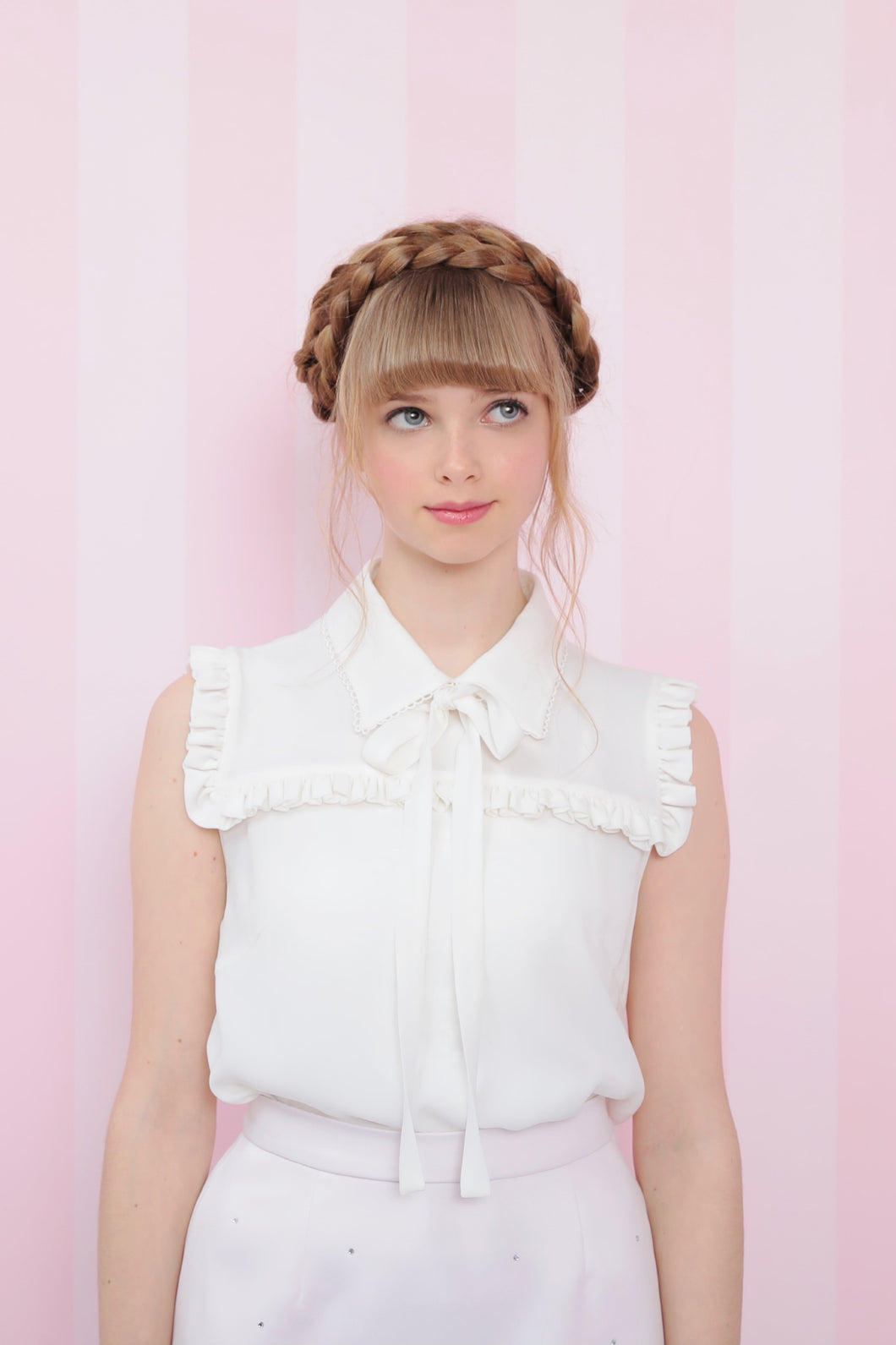 Ribbon tie frill blouse (white) - Poupee Boutique
