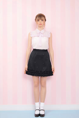 Frill bijou skirt (black) - Poupee Boutique