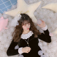 画像をギャラリービューアに読み込む, Lace collar velour one-piece (black) - Poupee Boutique