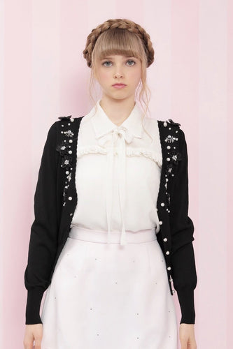 Flower motif cardigan (black) - Poupee Boutique