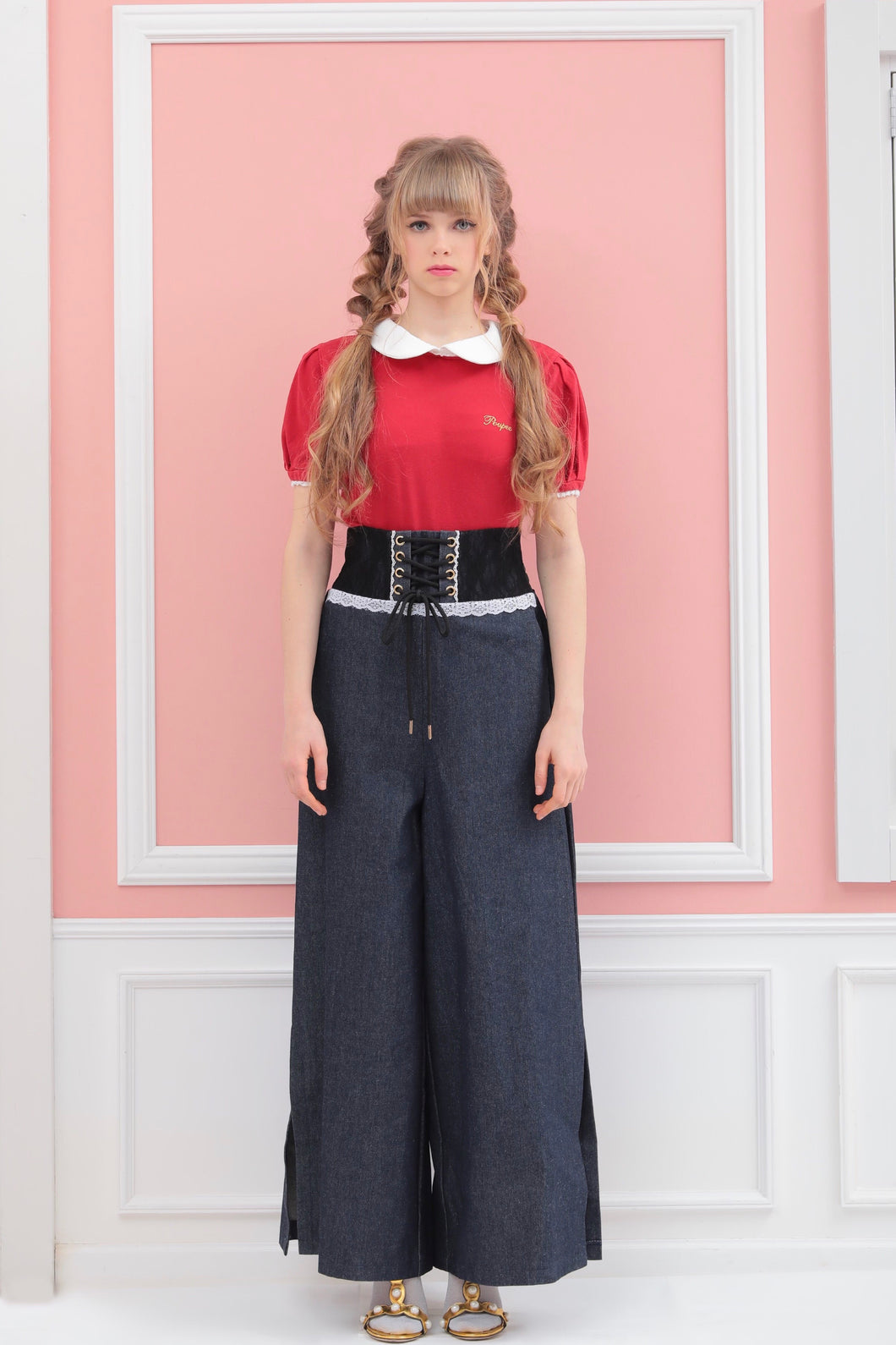 Corset wide-pants (denim) - Poupee Boutique