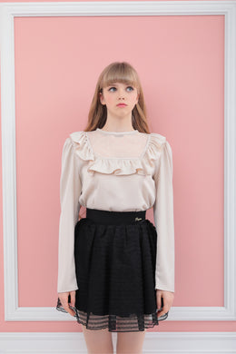 York frill satin blouse (beige) - Poupee Boutique