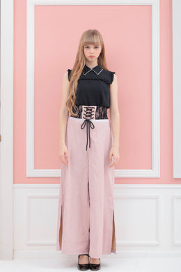 Corset wide-pants (pink) - Poupee Boutique
