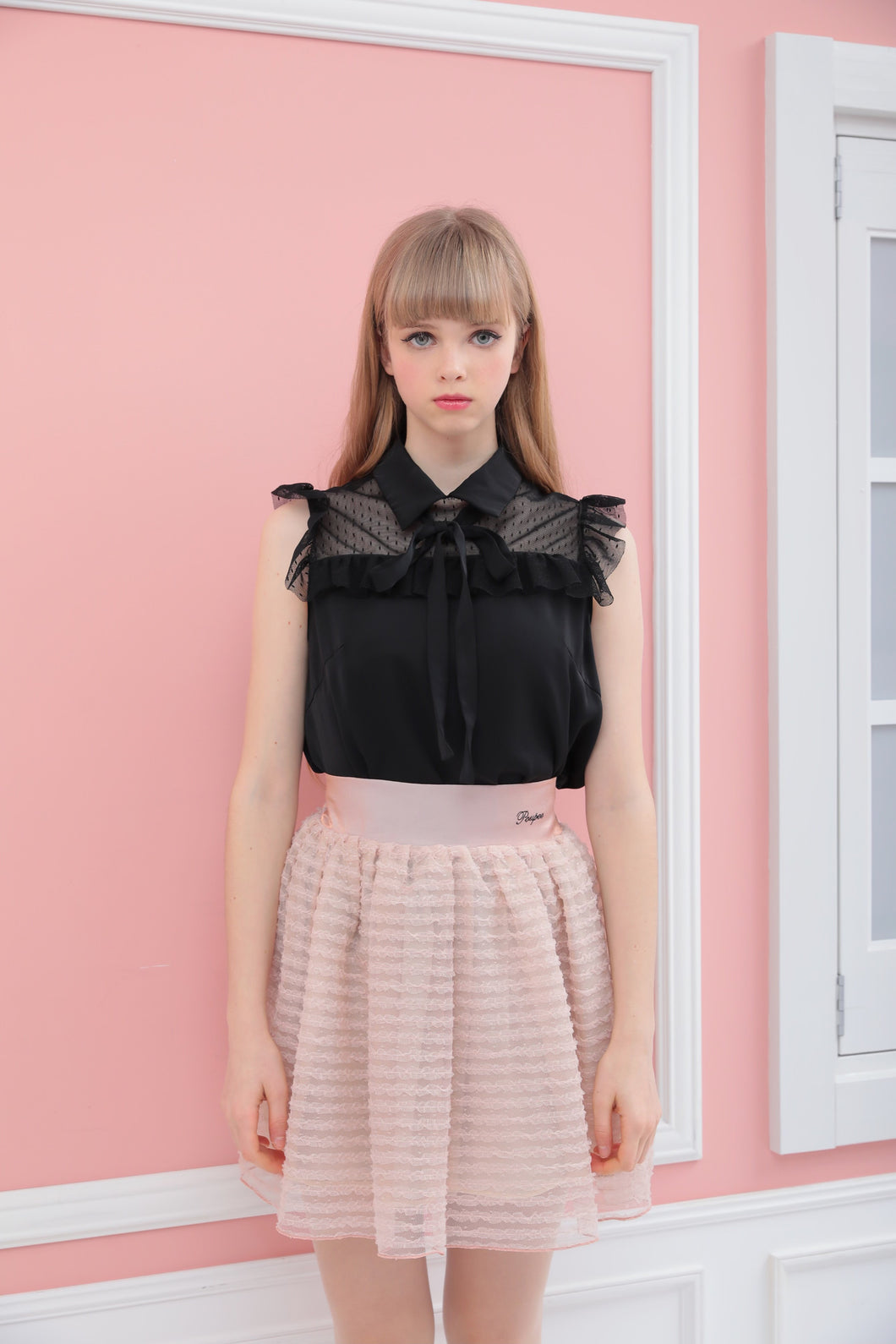 Dot tulle frill blouse (black) - Poupee Boutique