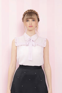 Ribbon tie frill blouse (lavender) - Poupee Boutique