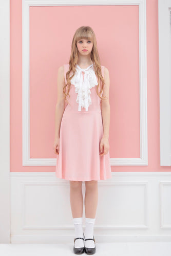 Ribbon tie one-piece (pink) - Poupee Boutique